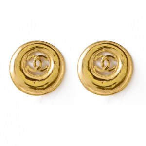 "Chanel 1 1/4"" gilt logo earrings within a graduating hoop, Spring 1993"