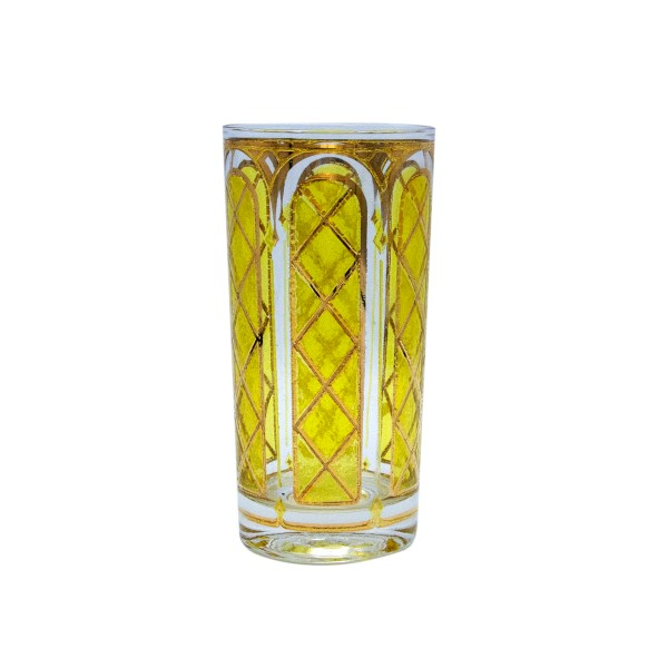 Mid Century highball glasses in yellow stained glass window design and 22k gold