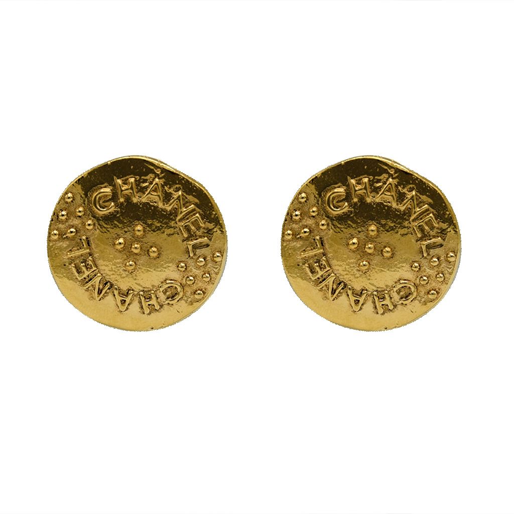 Chanel Embossed & Granulated Disk Earrings, 1980