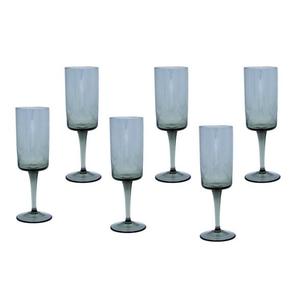 Orrefors Nils Landberg Charcoal Pedestal Sherry Glasses, Set of Six (6)