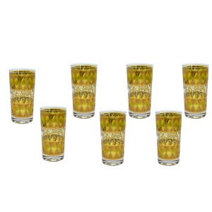32465 2 - Culver Yellow & Gold Highball Tumblers, Set of Seven (7)