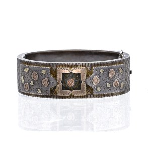 English Victorian Silver Bangle with Tri-Color Gold Floral Accents, 1880