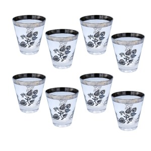 Georges Briard Silver Heart Leaf Double Old Fashioned Glasses, Set of Eight (8)