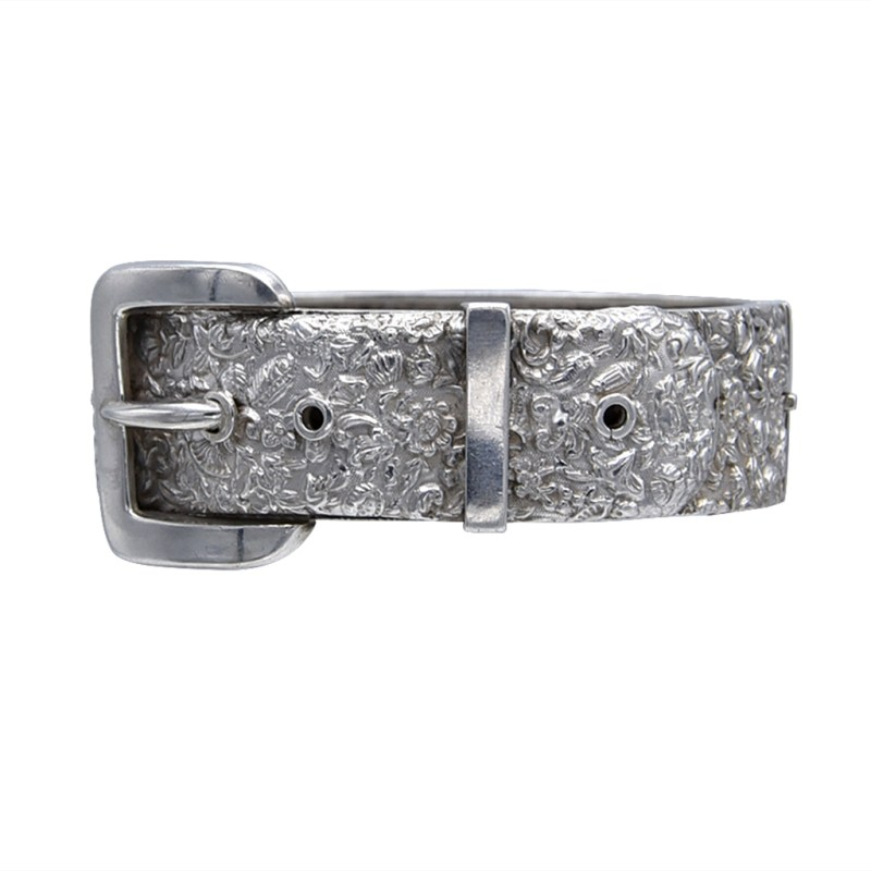 English Victorian Puffy Sterling Bracelet with Buckle, circa 1900
