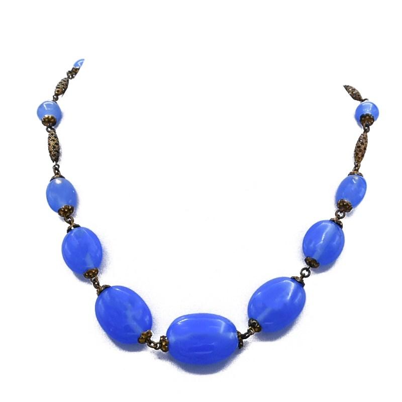 Art Deco Cornflower Czech Blue Glass Bead Necklace with Gold Filligree