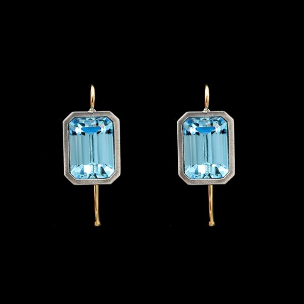Emerald Cut Aquamarine Vintage Paste Earrings