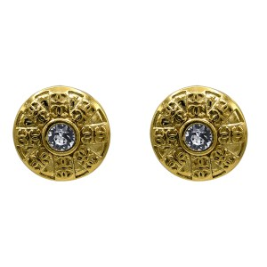 Chanel Gilt Dome Earrings with Logo in Sunray Pattern, 1986