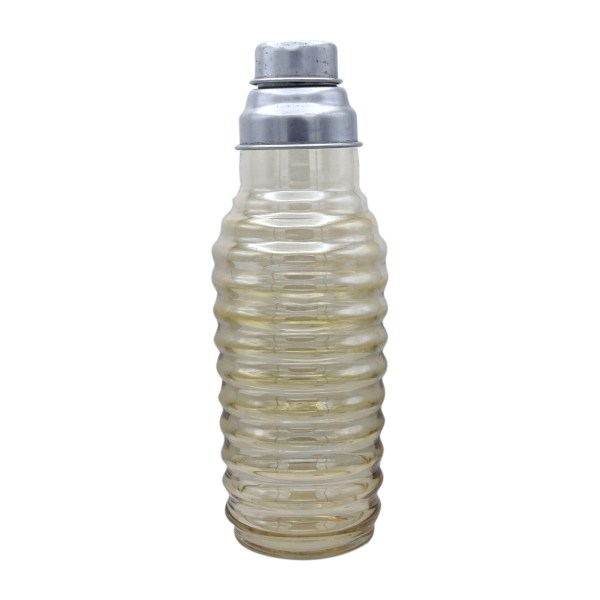 1930s apricot colored depression glass ribbed cocktail shaker