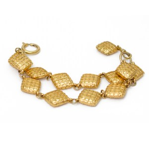 Chanel Double Strand Quitled Diamond Link Bracelet 1980