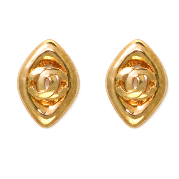 Chanel Diamond Shape Earrings with Central Logo, Spring 1997