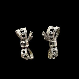 Petite sterling bow earrings set with paste, 1945