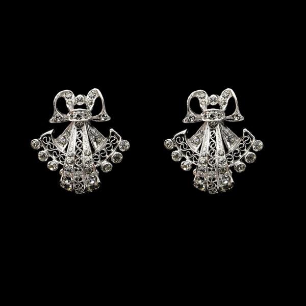 Derosa Unsigned Sterling & Paste Bow & Filigree Fan Earrings, 1940