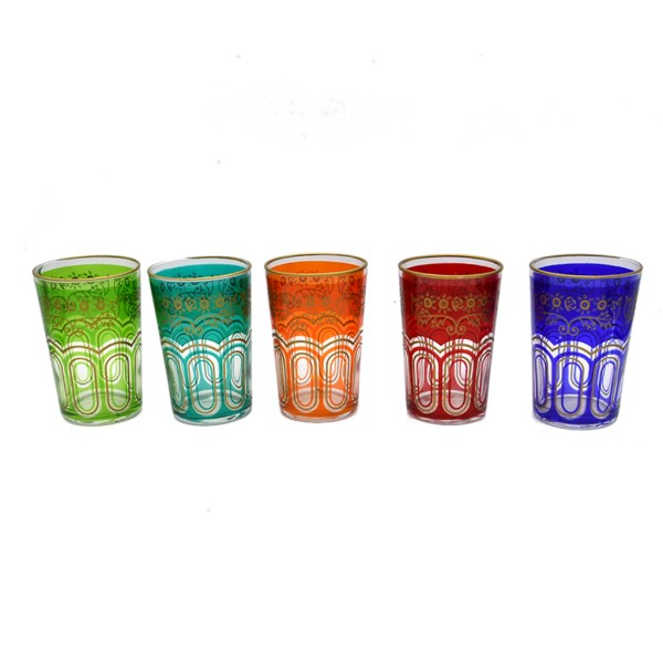 Mid Century Gemstone Colored Highballs with 22k Gold Filigree, Set of Five (5)