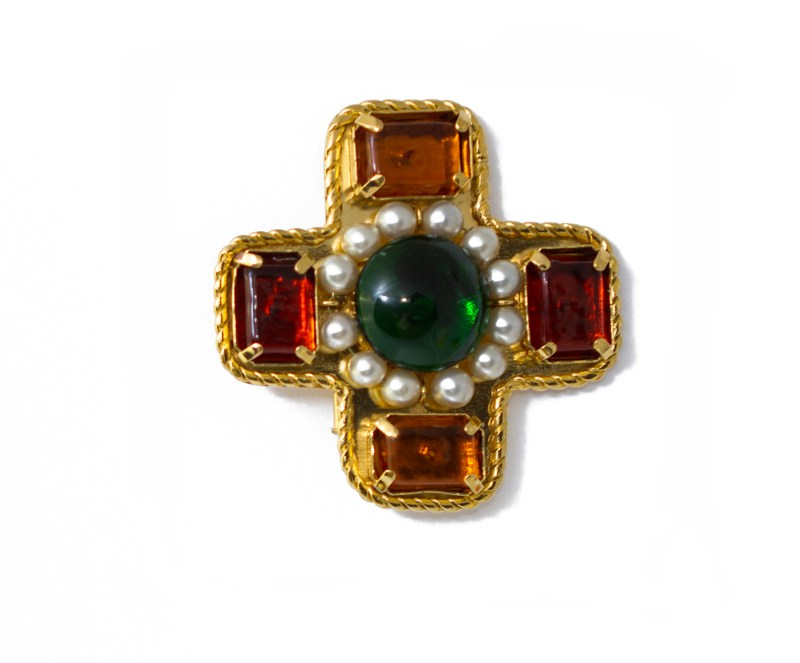 Chanel Maltese Cross Brooch with Gripoix & Pearl Accents, 1988