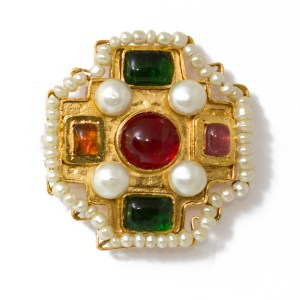 Chanel Maltese Cross Brooch with Multi-Color Gripoix & Pearl Accents 1980