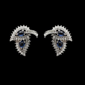 Boucher Rhodium Plated Double Leaf Clear & Sapphire Paste Earrings, 1970