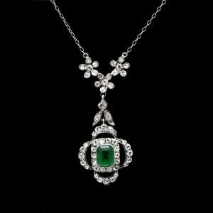 Edwardian Sterling Quatrefoil Pendant With Emerald & Clear Paste, 1915