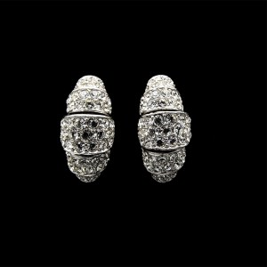 Ciner Rhodium Plated Stepped Arch Pave Paste Hoops, 1980