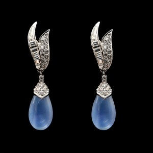 Boucher Swirl Paste Earrings with Removeable Sapphire Paste Drop, 1965