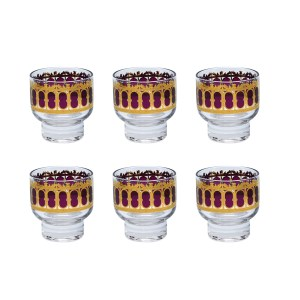 Culver Cranberry Scroll Footed Martini Glasses, Set of Six (6)