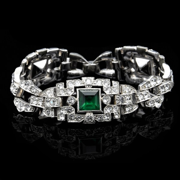 Art Deco Emerald & Clear American Paste Bracelet,