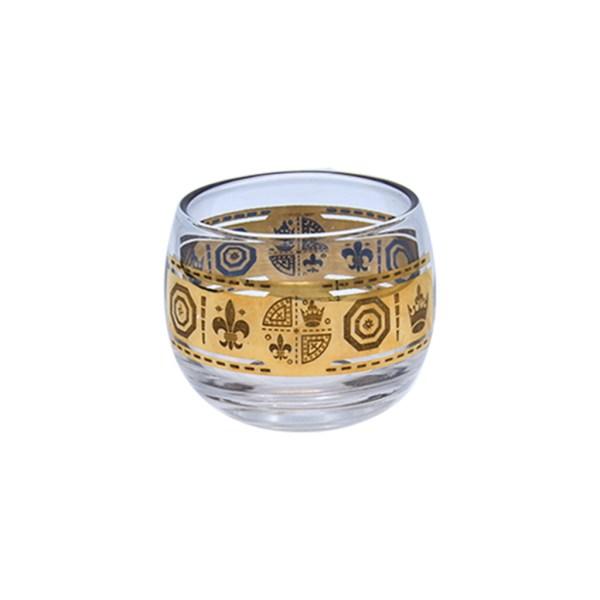 Vito Bari Fleur de Lis & Royal Crown Motif Roly Poly Glass