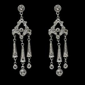 ProductEdwardian Rhodium Plated Paste Triple Fringe Earrings, 1915