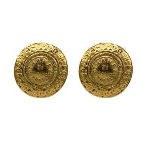 "Chanel Gilt ""CHANEL PARIS 31 RUE CAMBON"" Coin Motif Dome Earrings, 1990"