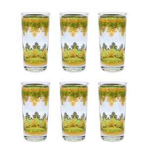 Georges Briard Green & 22k Gold Scroll Highball Glasses, Set of Six (6)