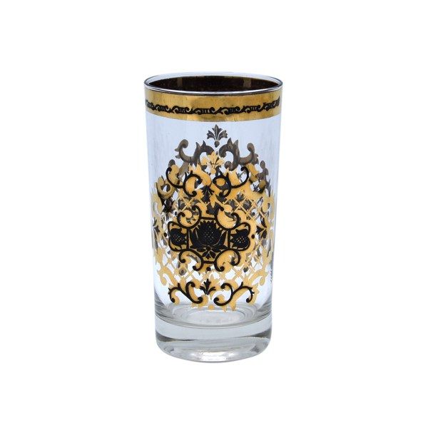 Mid Century Black & Gold Filigree Medallion Highball Glass