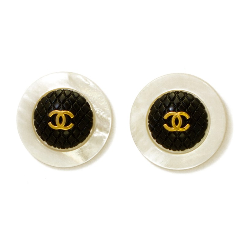 """Chanel 1 9/16"""" Quilted Black Dome Logo Earrings with Pearl Border, 1970"""