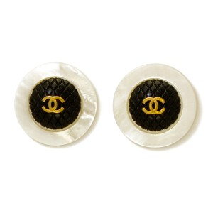 "Chanel 1 9/16"" Quilted Black Dome Logo Earrings with Pearl Border, 1970"