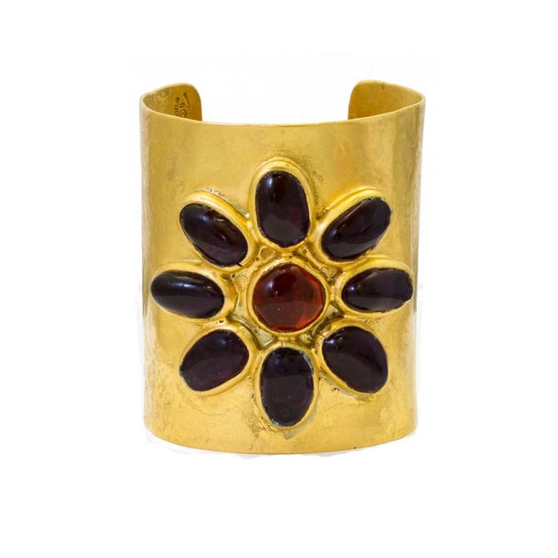 "Chanel 2 3/4"" Gilt Cuff Bracelet with Purple & Amber Gripoix Flower, Season 25 1988"