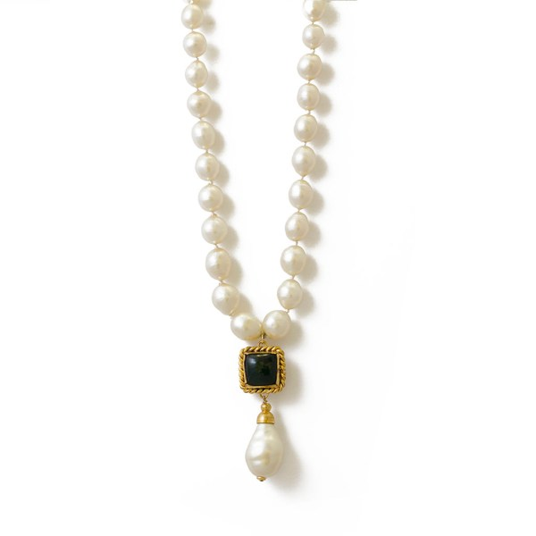 "Chanel 23 1/4"" Graduated Pearls with Emerald Gripoix & Pearl Pendant, 1984"