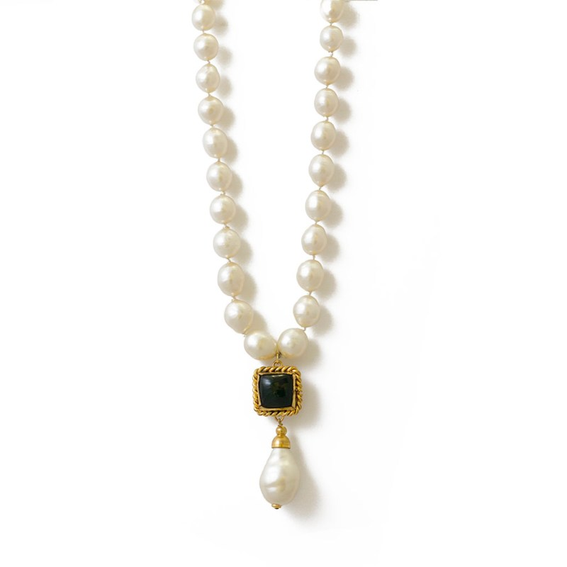 """Chanel 23 1/4"""" Graduated Pearls with Emerald Gripoix & Pearl Pendant, 1984"""