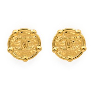 Chanel Gilt Logo Earrings with Bead Surrounds, 1988
