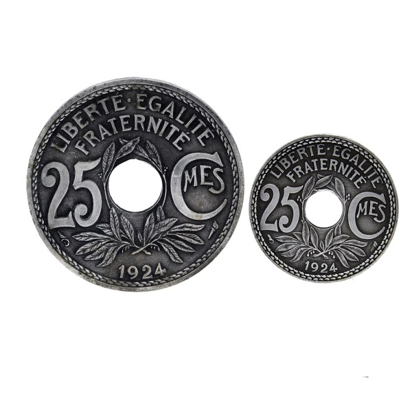 French Pewter Coin Coasters, 1924