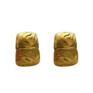 Chanel Double Gilt Square Earrings, 1992