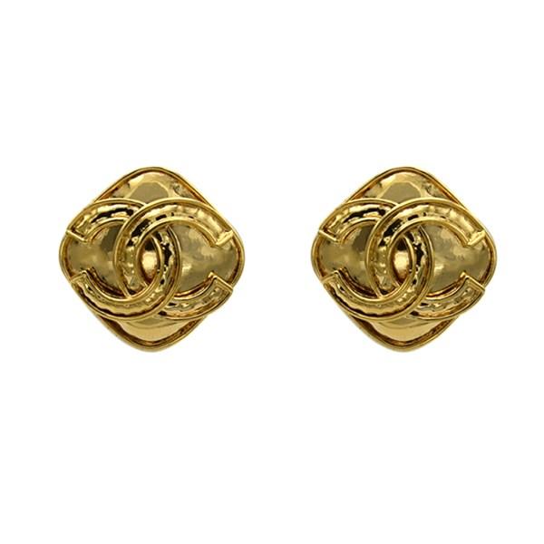 "Chanel 1 1/4"" gilt diamond shape earring with logo overlay. Spring 1994"