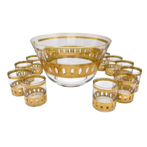 Set of 12 (Twelve) Culver Antigua Small Rocks Glasses and Bowl in 22k Gold