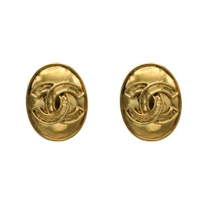 Chanel Oval Logo Earrings, Spring 1994