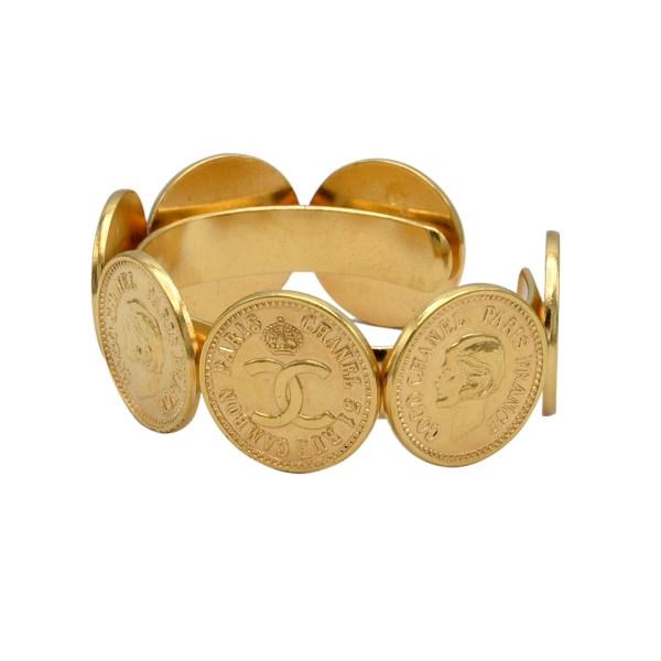 Chanel Logo & Mademoiselle Coin Cuff Bracelet, 1975