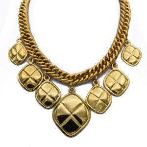 "Chanel 16"" Quilted Diamond Pendant Bib Necklace, 1990"