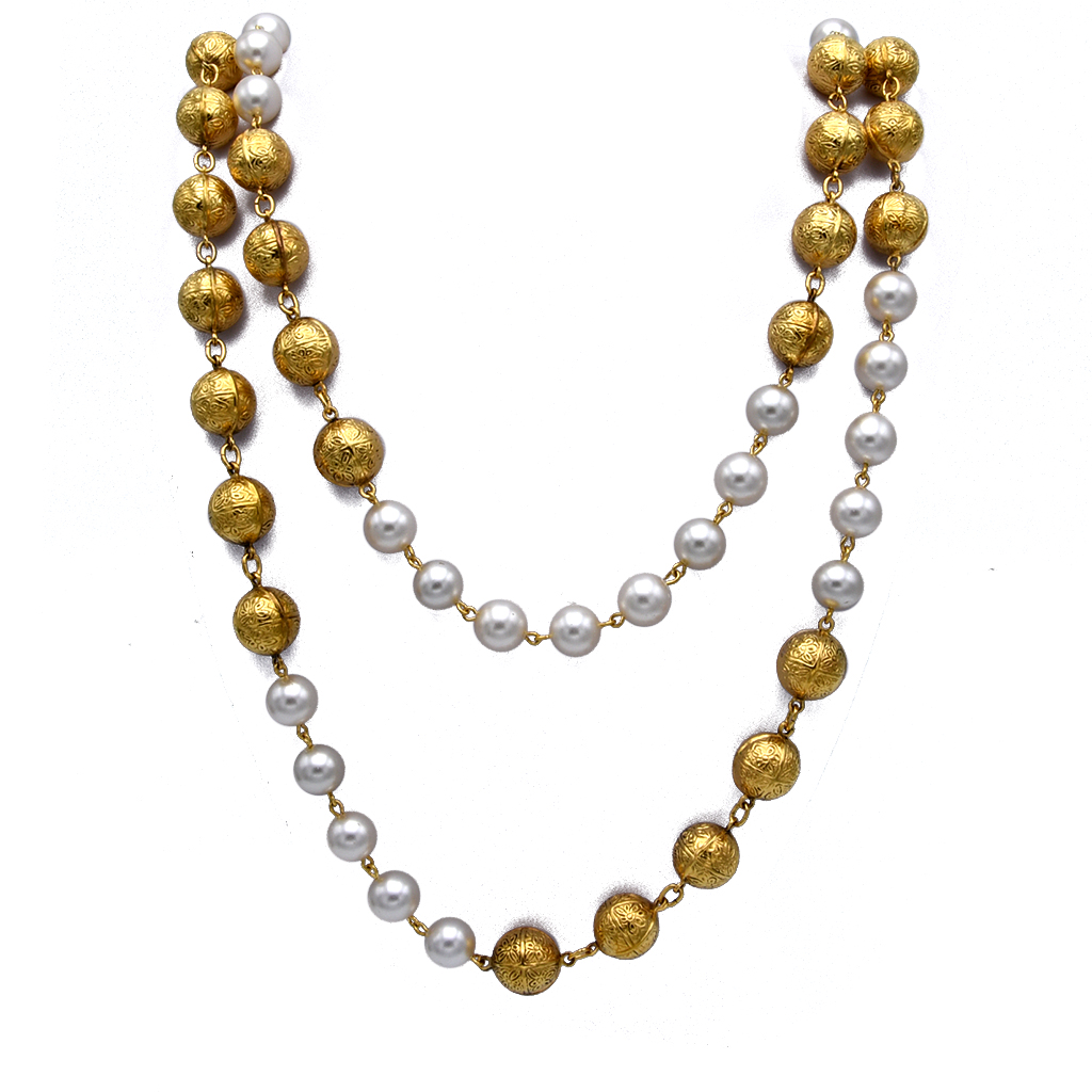 """Chanel 34 1/2"""" Double Strand of Gilt Filigree Beads & Pearls, 1990"""