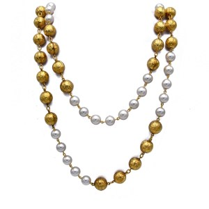 "Chanel 34 1/2"" Double Strand of Gilt Filigree Beads & Pearls, 1990"