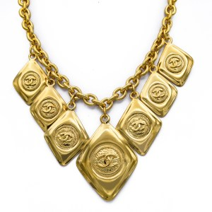 "Chanel 16 1/2"" Gilt Diamond-Shaped Pendants Collar Necklace, 1990"