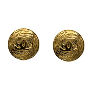 Chanel 1 1/4 Embossed Logo Earrings, Autumn 1993