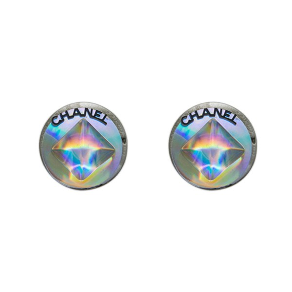 Chanel Holographic Stud Center Earrings, 2000