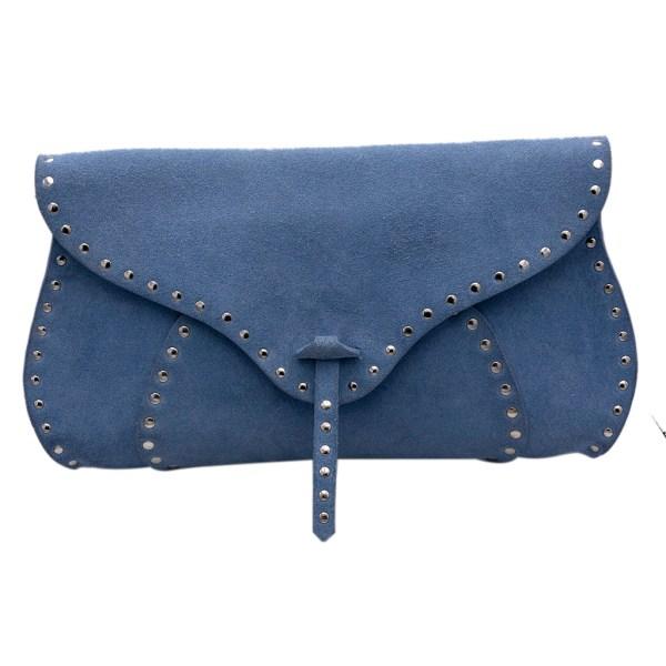 Celine Powder Blue Suede Clutch/Shoulder Handbag