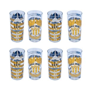 "Culver ""International Drinking Team"" Highball Glasses, Set of Eight (8)"